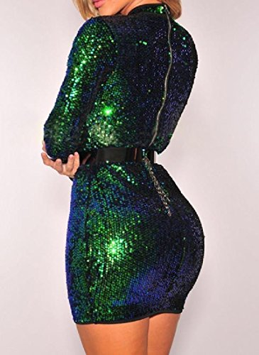 Party Bodycon Sequin Comfy Hollow Dress Glitter Womens Sleeve Long Green Club w6xH81qx