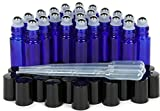 Vivaplex, 24, Cobalt Blue, 10 ml Glass Roll-on Bottles with Stainless Steel Roller Balls. 3-3 ml Droppers included