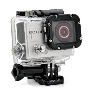 """Gotop 1080P Sports Action Waterproof Mountable Camera with 1.5"""" LCD & mini-HDMI"""