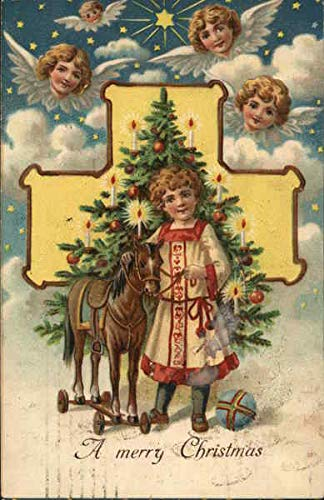A Merry Christmas Angels Original Vintage Postcard (Christmas Postcard Angel)