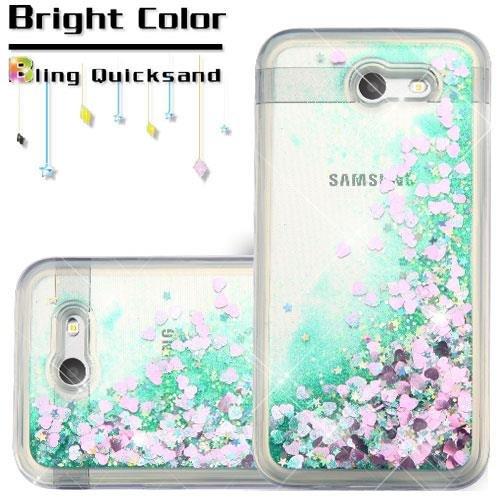 meet 00803 76a6c [World Acc] For Samsung Galaxy J3 Mission Case / Galaxy J3 Eclipse Case /  Galaxy J3 Luna Pro Case / Sol 2 Hybrid Quicksand Liquid Glitter TPU (Hearts  ...