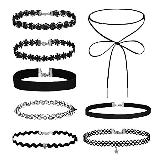8 Pieces Choker Necklace Velvet Classic Vintage Lace Collar Girls Tattoo Gothic Stretch Set (Necklace Vintage Plastic)