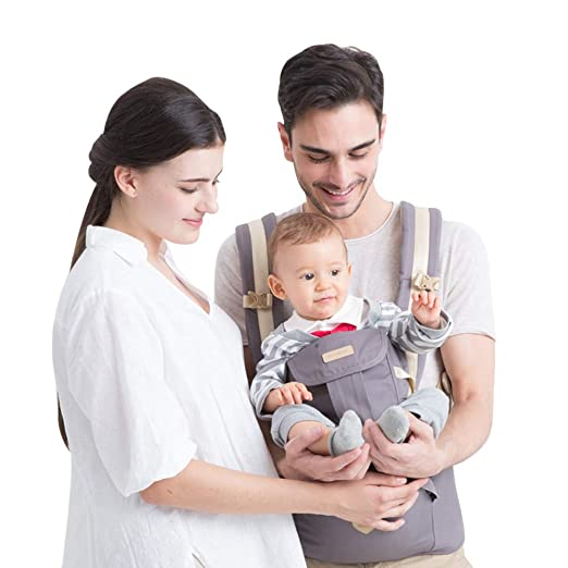 Amazon.com : Baby Backpack Carriers Front and Back for Newborn to Toddler with Hip Seat, Forward Facing Feemom Baby Kangaroo Carrier for Men Grey : Baby