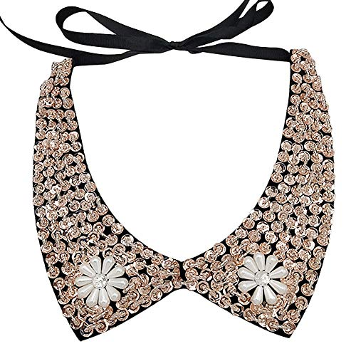 Joyci Sexy Fashion Necklace Chain Detachable False Collar (Sequin B Black)