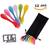 12 Pack Sporks,Durable & BPA Free Tritan Sporks,Spoon Fork & Knife Combo Utensils,6 Colors,Best Flatware Mess Kit for Camping&Outdoor Activities,with Bottle Opener and Portable Bag