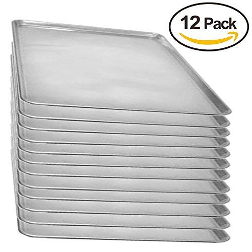 Aluminum Sheet Pan (Set of 12), Baking Pans, Full Size Commercial Baker 1 Dozen 18 x 26 Inches