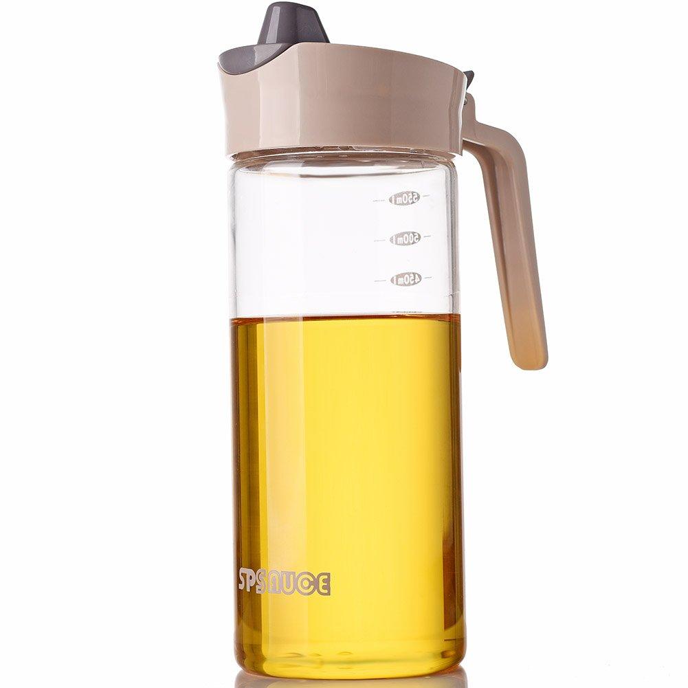 Botella dispensadora de aceite de oliva libre de goteo para cocina, vinagre de cristal transparente, dispensador de botellas de vinagre, peluquerí a, aceite de cocina, contenedores de almacenamiento de condimentos con medició n por Marbrasse