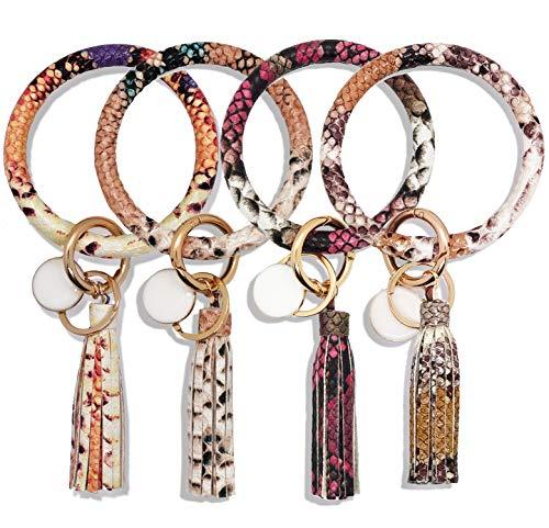 4PCS Snakeskin Leather Wristlet Keychain Bracelet Bangle Round Key Ring Large Circle Tassel Key Chain Bracelet Holder for Women Girls