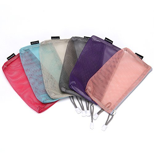 Sea Team 6pcs Multicolored Portable Travel Toiletry Pouch Nylon Mesh Cosmetic Makeup Organizer Bag with Zipper by Sea Team (Image #2)