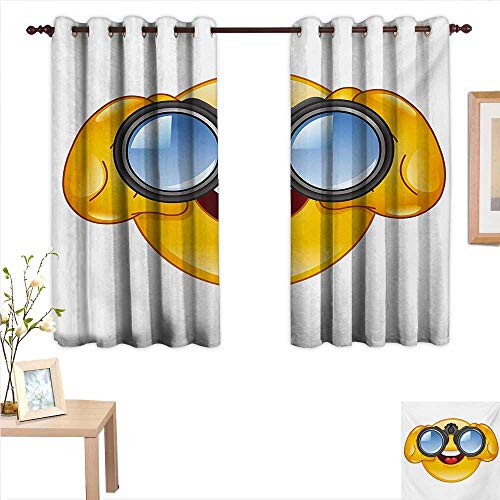 Superlucky Emoji Drapes for Living Room Smiley Face with a Telescope Binoculars Glasses Watching Outside Cartoon Print 55