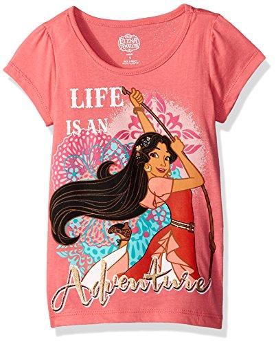 Disney Girls' Little Girls' Elena of Avalor T-Shirt, Coral, 4