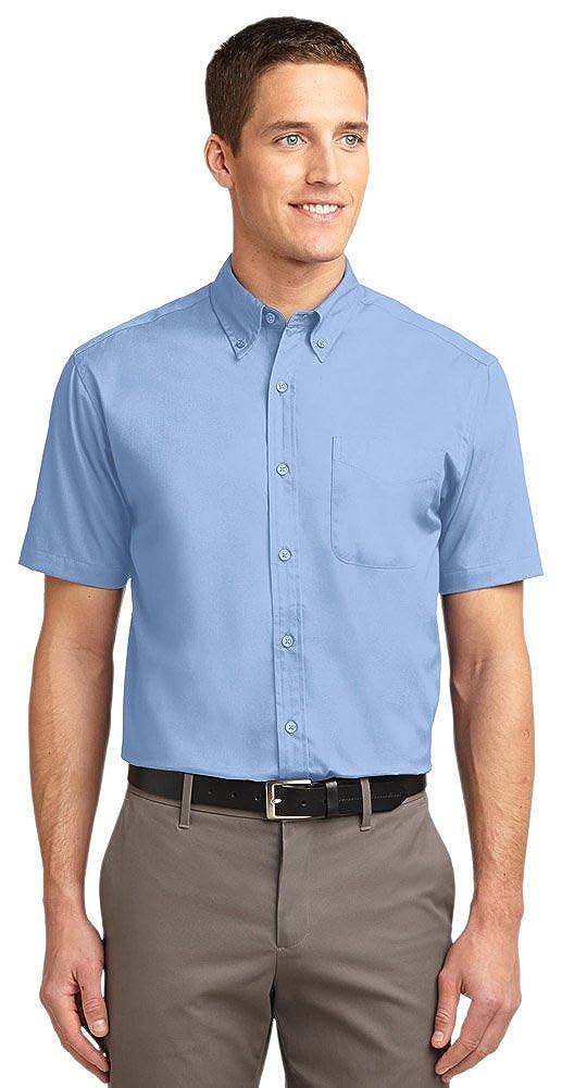 Light Blue//Light Stone Port Authority Short Sleeve Easy Care Shirt