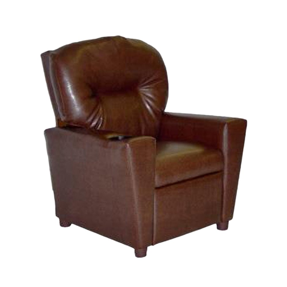 Dozydotes Child Recliner with Cup Holder Pecan Brown Leather DZD11534