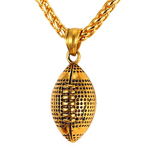 U7 Cool Rugby Pendant Necklace Men Jewelry Fashion 18K Gold Plated Wheat Chain Amercian Style Football Pendant]()