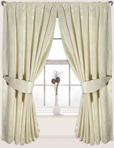(The House Of Emily One Pair Of Fully Lined Floral Design Pencil Pleated Jacquard Curtains 46