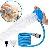 Toys Studio Pet Shower Sprayer and Scrubber 2 in 1, Multi-functional Pet Bathing Tool, Adjustable Handheld Dogs Cats Sprayer and Massage Brush, 8.2 ft Hose, 2 Faucet Adapters, Indoor and Outdoor Use