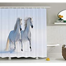 Horses Shower Curtain Set Animal Decor by Ambesonne, Galloping Rare Spotted Horses in Snow Dominant Albino Different Pure Animals Print, Fabric Bathroom Accessories, With Hooks, White Light Grey