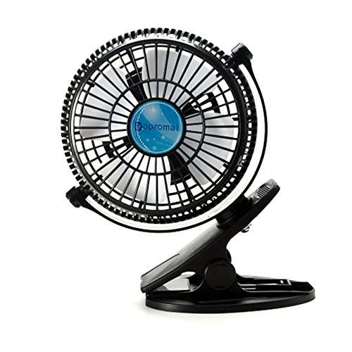 Bomwill 5-inch Clip-on Fan USB 360 Degree Tilt Adjustable Electric Personal Air-Circulator Clip fan for Desk/table Black (Fan Bed compare prices)