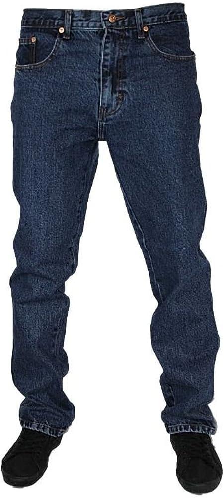 Mens Straight Leg Heavy Duty Work Basic 5 Pocket Plain Denim Jeans Pants All Waist & Sizes Stonewash