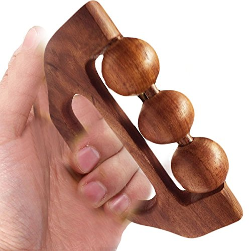 WhopperOnline Wooden Hand Held Massager 3 Ball Design With Grip Wooden Rolling Ball massager for Shoulder, Neck, Calf Pain Relief Body Massager 6 Inch