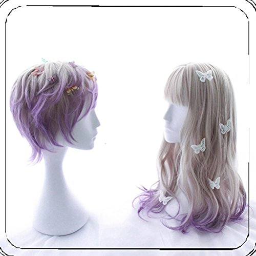 35cm Gorgeous Lolita Wigs Purple Blonde Gradient Ombre Hair for Men Boys Daily Use Cosplay Party Halloween Pastel Wig (For (Half Male Half Female Halloween Costume)