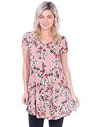 Popana Women's Tunic Tops for Leggings Short Sleeve Summer Shirt Made in USA 3X ST73