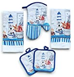American Mills Kitchen Towel Set 5 Piece Towels Pot Holders Oven Mitt Decorative Lighthouse