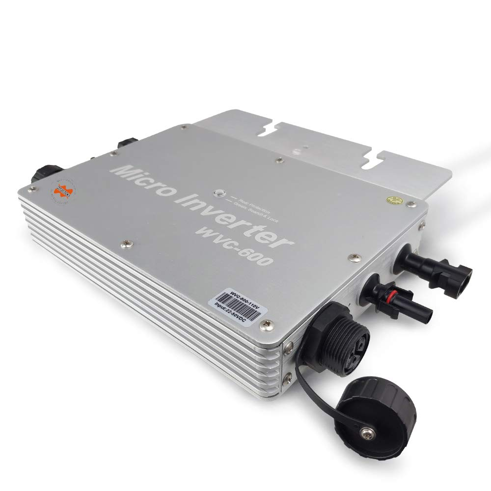 Marsrock IP65 Waterproof 600W Micro Solar Inverter Converter with DC 22-50VDC Wide Input Voltage to 80-160VAC (110VAC) High Efficiency MPPT Grid Tie Inverter (WV600110S) by Marsrock