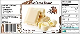 5 Lb Organic Cocoa Butter, Pure, Raw, Unprocessed. Use for Lotion, Cream, Lip Balm, Oil, Stick, or Body Butter. Organically Grown, Non-gmo By Saaqin