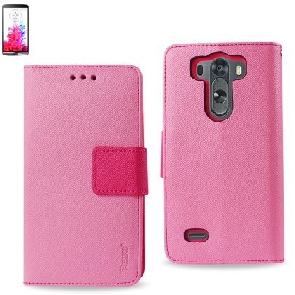 Reiko Pink LG G3 MINI, G3 S, G3 VIGOR Wallet Case 3 IN 1 Leather Case Cover Pouches With Stand Function US carrier AT&T, Sprint - Carrying Case - Retail Packaging - Pink