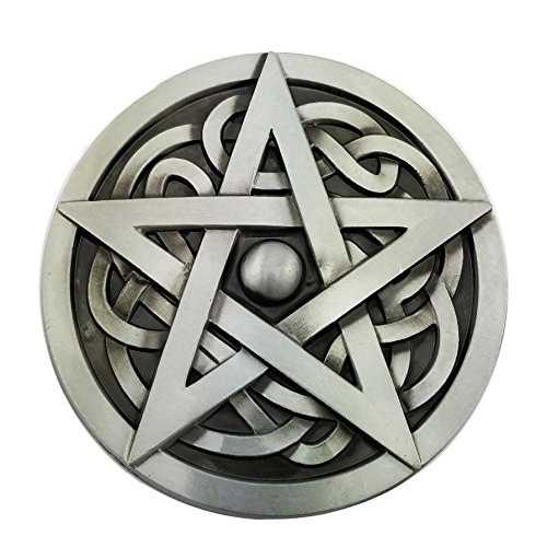 (Lanxy Native American Western Round Celtic Knot Star Badge Round Belt Buckle Silver Tone)