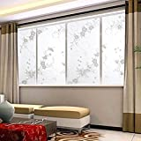 XiDang Sweet Window Film Decorative 45x100cm Frosted Privacy Cover Glass Window Door Black Floral Flower Sticker Film Adhesive Home Room Bathroom Office Decor (Colorful)