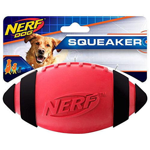 Nerf Dog Squeak Rubber Football Dog Toy, Medium/Large, Red