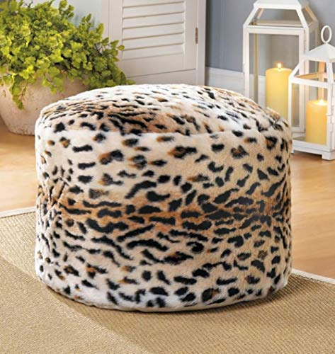 Aspen Tree Animal Print Ottoman, Chic Pouf Foot Rest Stool, Round Leopard Footstools, Contemporary Poufs, Small Ottomans for Walk in Closet (Animal Ottoman Print)