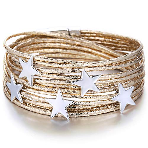 - FINETOO Gold Star Wrap Bracelet Multi-Layer Leather Bracelet Wrap Cuff Bobo Bangle - with Alloy Magnetic Clasp Handmade Jewelry for Women,Girl Gift