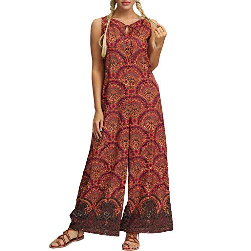 QIQIU Womens Yoga Gypsy Jogging Harem Pants Casual Folk Style Baggy Trousers Jumpsuit Wide Leg Floral Romper Red