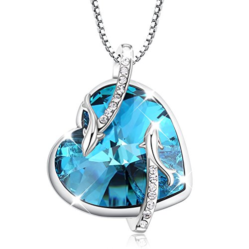 "Valentine's Day Gift Turantu ""Heart of the Ocean"" Dolphin Pendant Necklace Made with SWAROVSKI Crystal"