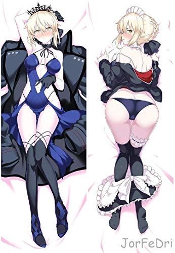 Knmbmg Fate/stay night Arutoria Pendoragon/Alter Saber Body Pillowcase, Anime Sexy Appeal Underwear Pretty Girl Maid Dress Up Double-sided Pattern Peach Skin Adult Pillow Cover, Home Sofa Decorative A (Anime Body Pillow Girl)