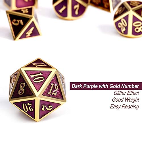 Table Game Metal Dice Set, 7PCS D&D Metal Die with Metal Gift Box for Tabletop Games Dungeons and Dragons Dice (Dark Purple and Gold Number) by DNDND (Image #3)
