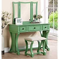 1PerfectChoice Tri Folding Mirror Curved Lines Vanity Makeup Table Bench Set Drawer Apple Green