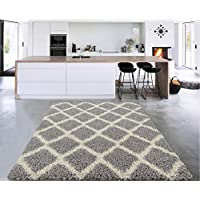Sweet Home Stores Cozy Shag Collection Moroccan Trellis Design Shag Rug Contemporary Living & Bedroom Soft Shaggy Area Rug,   Grey & Cream,  94 L x 118 W