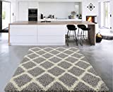 "Sweet Home Stores Cozy Shag Collection Moroccan Trellis Design Shag Rug Contemporary Living & Bedroom Soft Shaggy Area Rug,   Grey & Cream,  39"" L x 60"" W"