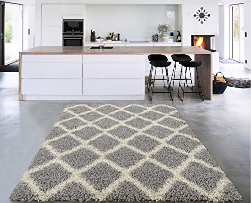 Sweet Home Stores Cozy Shag Collection Moroccan Trellis Design Shag Rug Contemporary Living & Bedroom Soft Shaggy Area Rug,   Grey & Cream,  94