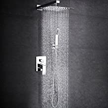 SR SUN RISE SRSH-F5043 Bathroom Luxury Rain Mixer Shower Combo Set Wall Mounted Rainfall Shower Head System Polished Chrome(Contain Shower faucet valve body and trim)