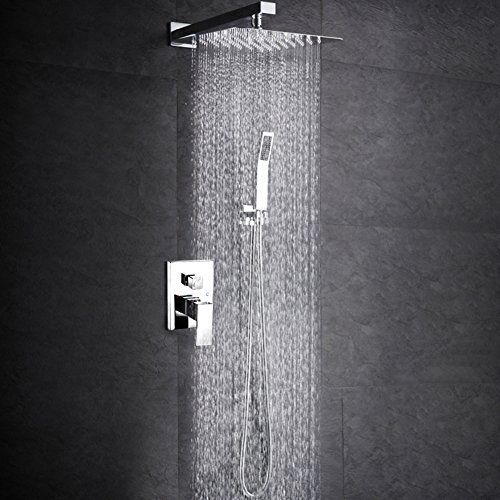 Polished Chrome Combo - SR SUN RISE SRSH-D1203 12 Inch Bathroom Luxury Rain Mixer Shower Combo Set Wall Mounted Rainfall Shower Head System Polished Chrome (Contain Shower faucet rough-in valve body and trim)