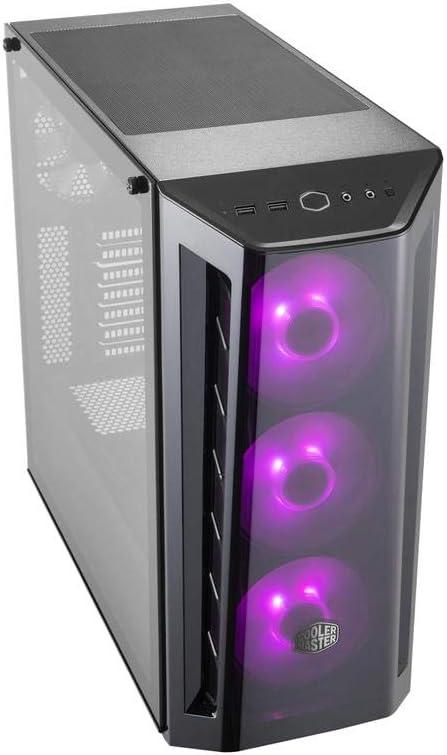 Cooler Master MasterBox MB520 RGB ATX Mid-Tower con Panel Frontal DarkMirror, entradas de Malla Frontal, Panel Lateral de Vidrio Templado y 3 Ventiladores RGB de 120 mm con Controlador RGB