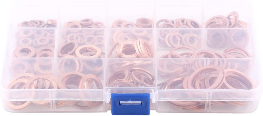 12 Sizes Ring Seal Gasket Fitting for Screws Bolts Copper Crush Washers 280 PCS Flat Round Washers With Box