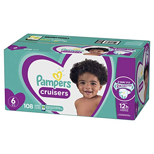 (Diapers Size 6, 108 Count - Pampers Cruisers Disposable Baby Diapers, ONE MONTH SUPPLY (Packaging May Vary))