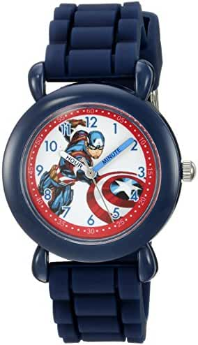 Marvel Boy's 'Captain America' Quartz Plastic and Silicone Casual Watch, Color:Blue (Model: WMA000028)