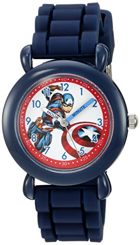 Marvel Boy's 'Captain America' Quartz Plastic and Silicone Casual Watch, Color:Blue (Model: WMA000028)